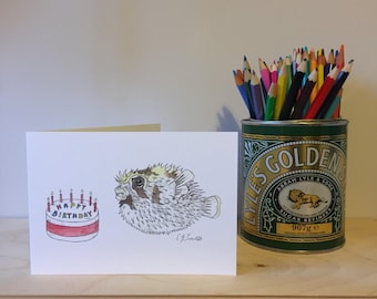 Puffer Fish Birthday Cake - Greetings Card