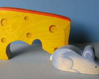 Mouse and Cheese, wooden Waldorf puzzle toy