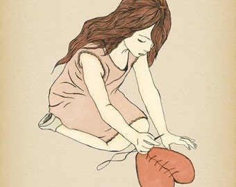HEALING - giclee art print illustration poster decor ( mending a broken heart ) get well spiritual ink drawing anti valentines