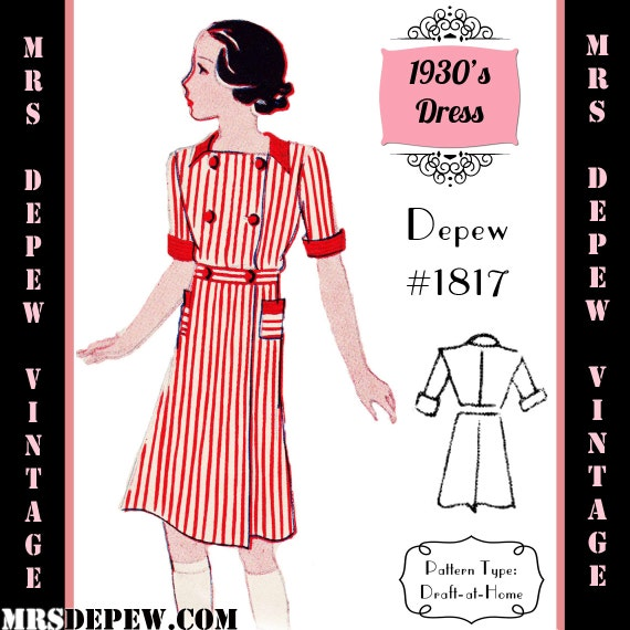 1930s Children's Fashion: Girls, Boys, Toddler, Baby Costumes  1930s Girls Short Sleeve Dress - Any Size Depew 1817 Draft at Home Pattern -INSTANT DOWNLOAD-Vintage Sewing Pattern 1930s Girls Short Sleeve Dress - Any Size Depew 1817 Draft at Home Pattern -INSTANT DOWNLOAD- $7.50 AT vintagedancer.com