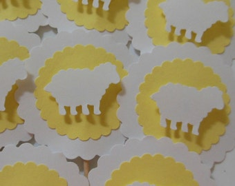 Sheep Cupcake Toppers - Yellow and White - Gender Neutral - Baby Shower Decorations - Baptism Decorations - Birthday Party decorations
