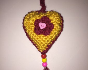 Crochet Heart Keyring / Bag Charm