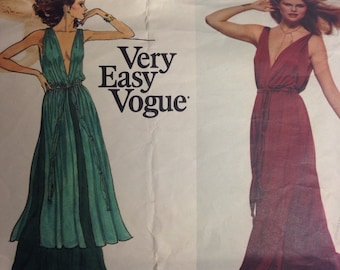 Vogue Dress American Designer Original 1774 Evening Dress Deep V Neck Vtg 70s Sz 16 Bust 38 Stan Herman