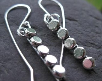 Pebbled Path Sterling Silver Earrings . eco-friendly recycled silver . made to order