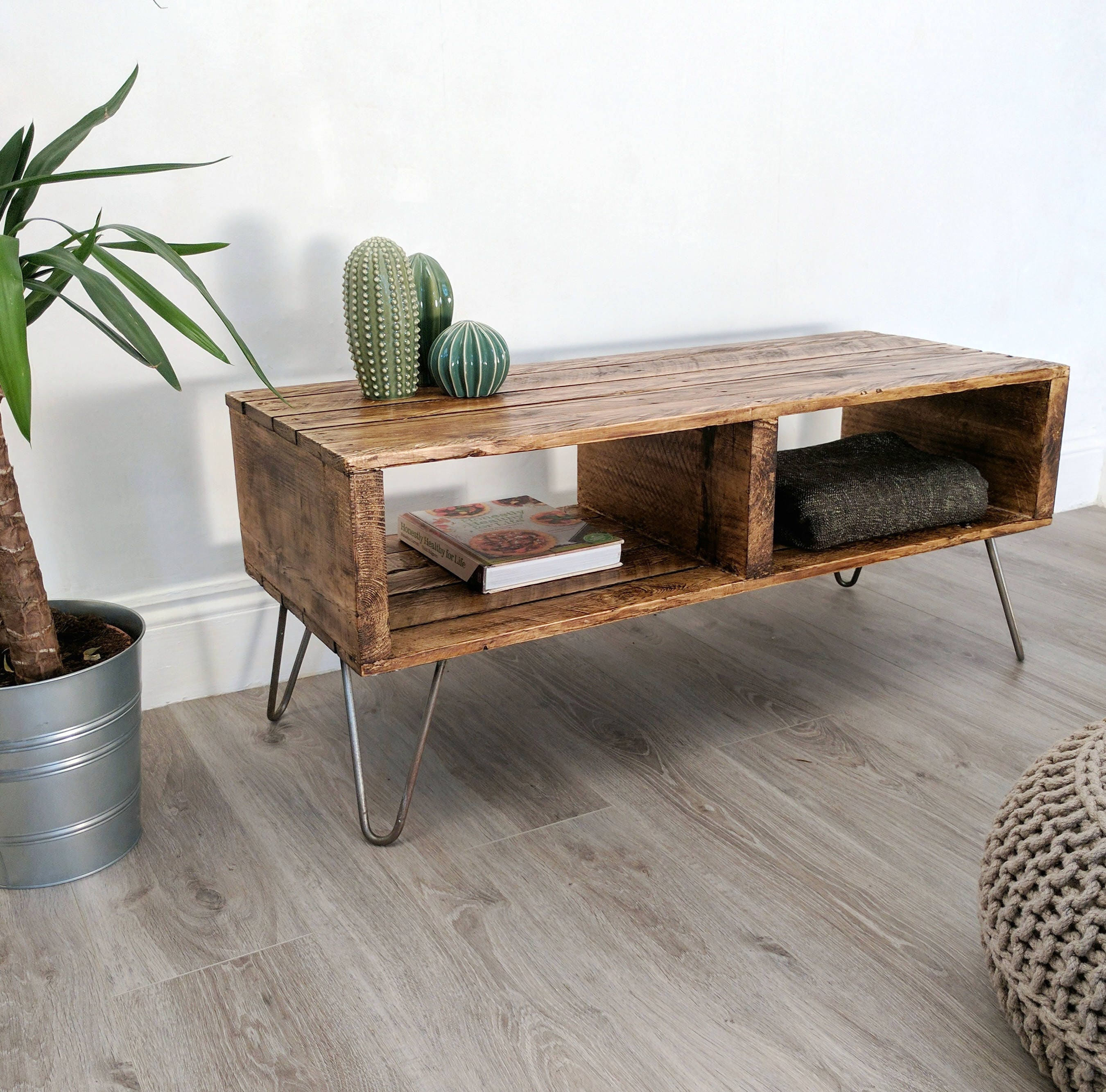 Rustic Retro Pallet Coffee Table TURVAS in Roast Coffee