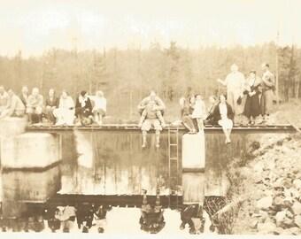 """Vintage Snapshot """"Mirror Image"""" Reflection Lake Found Photo Group Shot Dock Pier Ladder Water Paper Ephemera"""