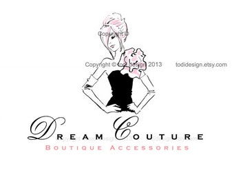 Dream Couture OOAK Character Illustrated Premade Logo design-Will not be resold- Fashion Boutique