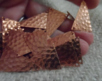 """Hammered copper coated steel triangles,1"""",20pcs-KC176"""
