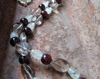 Magnetized necklace smoky quartz, prehnite, Garnet
