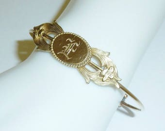 Antique Victorian Bypass Bracelet Gold Filled Signet Initial E Old English Script Bangle Bracelet Circa 1890