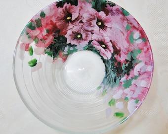 Decorative dishes - salad bowl - pink hollyhocks