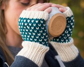 Knitted Fingerless Mittens, Hand Knit Fingerless Wrist Warmers, Winter Accessory, Fingerless Knitted Wool Fair Isle Gloves