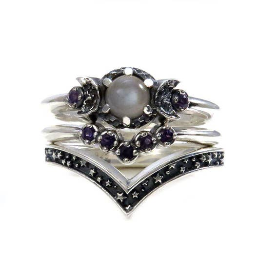 Triple Moon Engagement Ring Set with Grey Moonstone and Amethyst Double Chevron Wedding Bands - Sterling Silver Stars