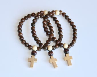 Men's prayer bracelet, wood cross bracelet