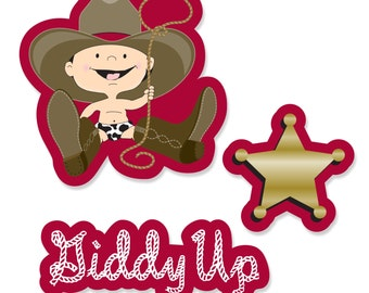 24 pc. Small Little Cowboy - Western Shaped Paper Cut Outs - Baby Shower or Birthday Party Die Cut Decoration Kit