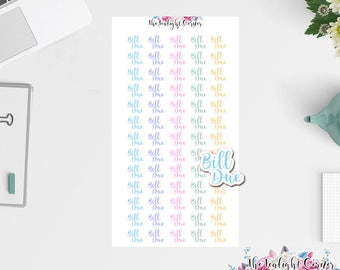 Bill Due Stickers | Planner Stickers | Happy Planner | Erin Condren | Pay Bills Stickers | Pay Bill Happy Planner | Functional Stickers