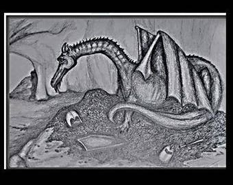 """original artwork, OOAK, graphite """"Lair"""""""