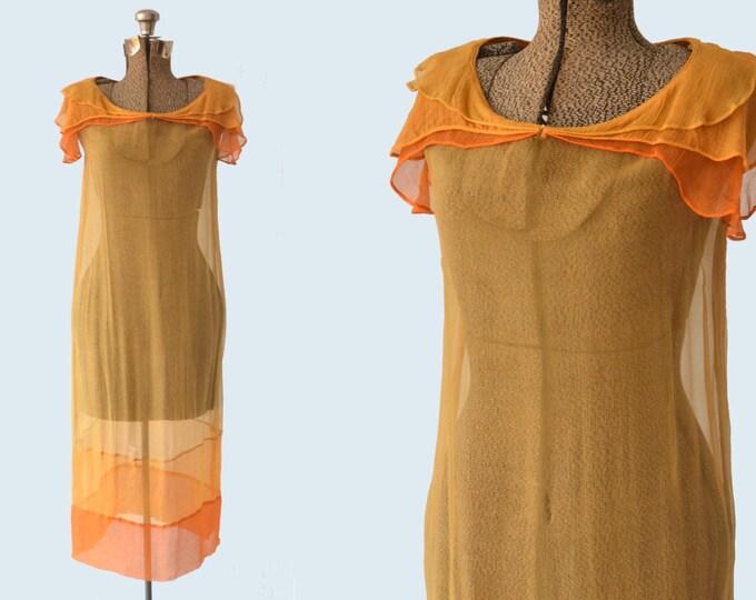 1920s Sheer Orange Silk and Dress size S