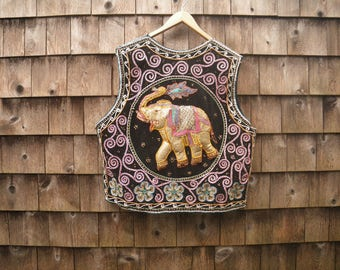 1980s Ethnic Puffed Elephant Vest - Large - Metallic Thread Sequins