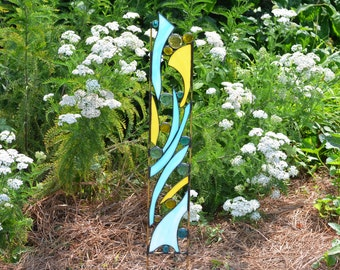 Stained Glass Garden Ornament, Blue and Yellow Yard Art,  'Rise & Shine'
