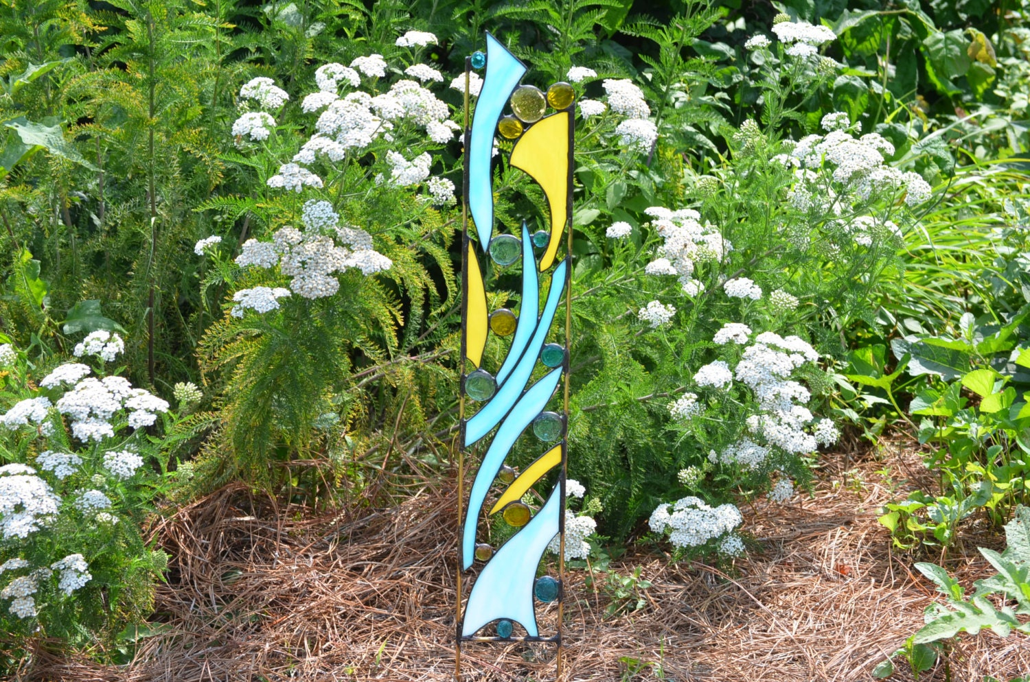 Stained Glass Garden Ornament Blue and Yellow Yard Art