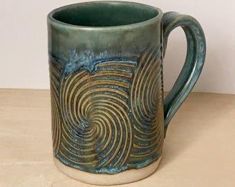 Spiral Wave mug, handmade mug, small mug, coffee espresso mug
