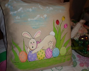"""16x16"""" cotton canvas pillow cover, hand painted Original pattern 'CAUGHT' Easter Bunny Painting the Eggs, Springtime"""
