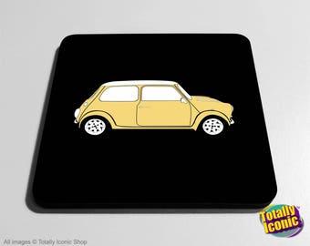 Mini Car Classic CREAM Drinks Coaster Mat - Classic Mini - Mini Cooper - Austin Mini Car
