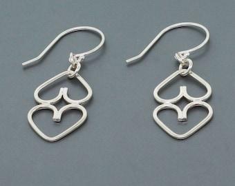 Sterling Silver Heart Dangle Earrings - Silver Drop Earrings - Minimal Earrings - Delicate Earrings