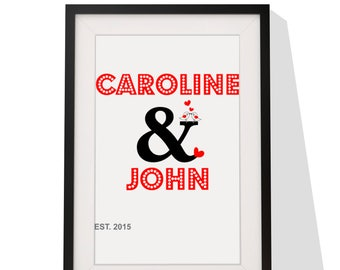 Wedding Anniversary Personalised Gift - Framed Print With Mount - Ampersand Design - 12 x 10 Inch
