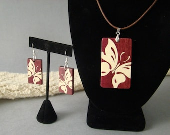 Butterfly pendent with matching earrings of Purpleheart and Holly w/free shipping.