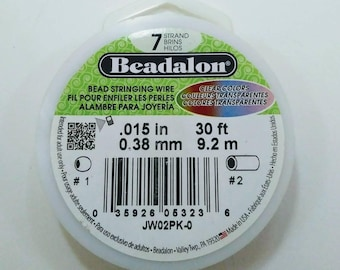 Beadalon 7 Strand Clear Colors RED Bead Stringing Wire 30ft Roll 0.38mm Jewelry Beading Supplies