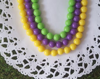 Rockabilly Gumball Necklace, Purple Necklace, Yellow Necklace, Lime Green Necklace, Gothabilly Necklace, Chunky Bead Necklace
