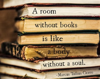 A Room Without Books Quote Art Print, Cicero Quote, Home Office Print Decor, Book Lover Gift, Book Quote Library Art Decor Literary Wall Art