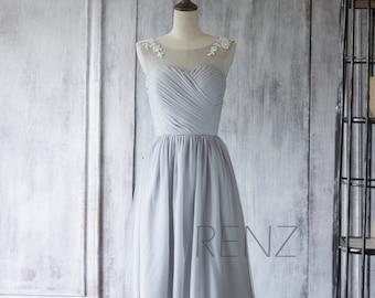 Bridesmaid Dress Medium Gray Chiffon Dress,Wedding Dress,Lace Illusion Cocktail Dress,Short Sweetheart Prom Dress,A-line Elegant Dress(F255)