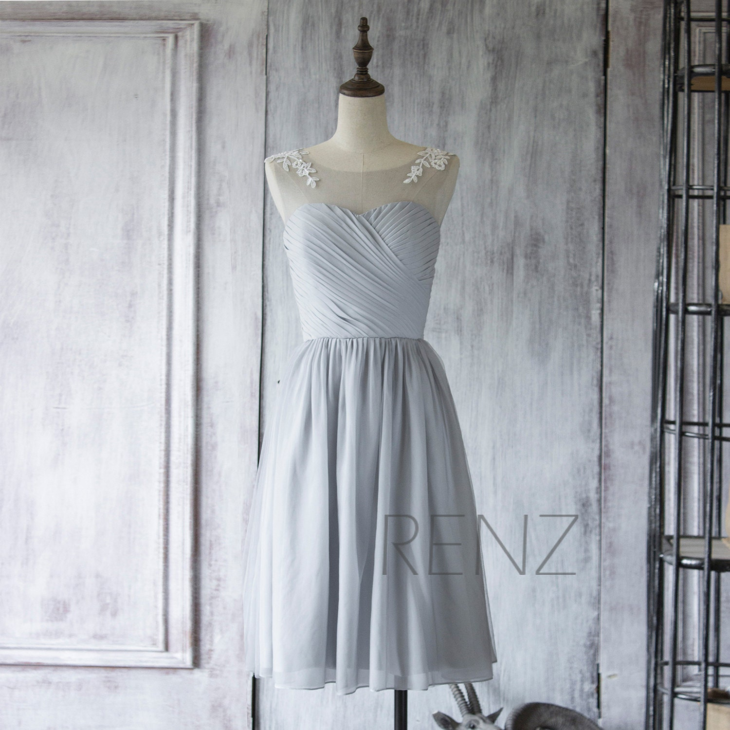 Bridesmaid Dress Medium Gray Chiffon DressWedding DressLace
