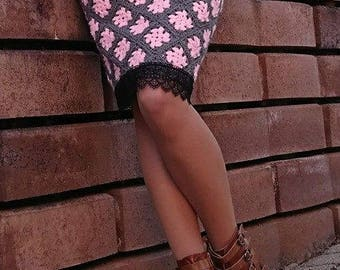 Knitted skirt with lace FREE SHIPPING