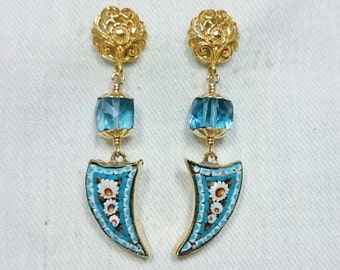 Micro Mosaic Earrings, 14K Gold Filled, Blue Topaz, Grand Tour Souvenir Jewelry, Italy