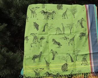 Kikoy with Giraffes and Zebras