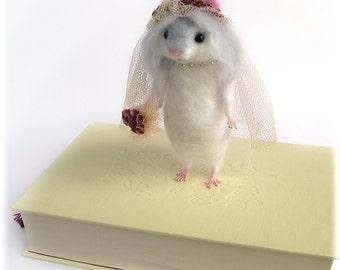 Hamster Miss Havisham Bride Needle Felted Art Doll MADE TO ORDER Charles Dickens Literature Rodent Model Needle Felting