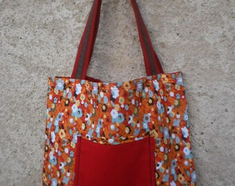 Bag very ornate orange, red, gray and brown tones