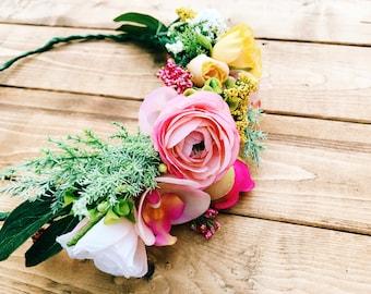 Pink + Yellow Flower Crown, Ranunculus + Rose Flower Crown, Spring Rain Tropical Flower Crown, Pink Flower Crown, Wedding Flower Crown