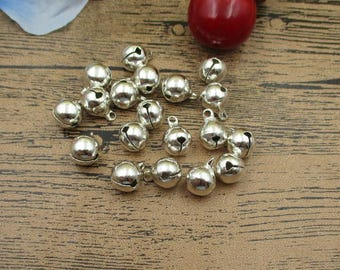 50 Round Silver Bell Charms-10mm-RS671