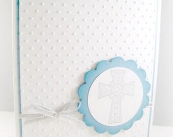 Boy Religious Cross Card, Boy Baptism Card, Christening Card, First Communion Card, Confirmation Card, Handmade Blue Cross Card
