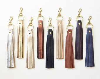 Leather Tassel KEYRING Keychain, Tassel Purse Charm, Leather Key Fob, Metallic Leather Handbag Charm, Tassel Keychain Charm, Gift for Her