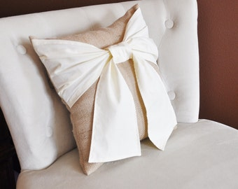 Throw Pillow Cream Bow on Burlap Rustic Pillow 14x14 -Rustic Home Decor-
