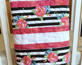 Floral striped baby quilt - Baby girl quilt - Baby quilt - Baby shower gift - Crib quilt - Nursery quilt - Tummy time quilt - Stroller quilt
