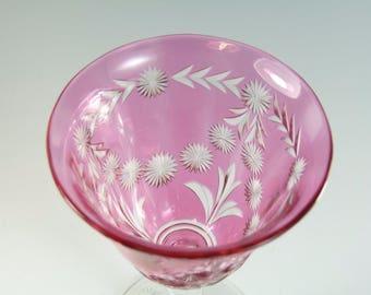 """Antique Edwardian CRANBERRY - Cut Wine Glass - 5"""" - #ACG9"""
