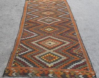 kilim rug free shipping VINTAGE TURKİSH antalya cecim kilim Anatolian  kilim rug decorative kilim - SİZE : 49'' X 116'' ( 123 cm X 290 cm)