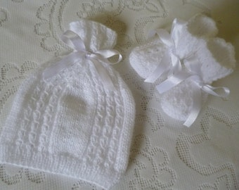 Hat and Booties Set, Christening Set, White Baby Set, White Hat and Booties,  Baby Shower Gift,  Christmas Baby Gift, Unisex Baby Set.